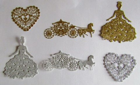 6 X BEAUTIFUL GLITTER DIE CUTS FEATURING PROM QUEEN HORSE & CARRIAGE & HEARTS